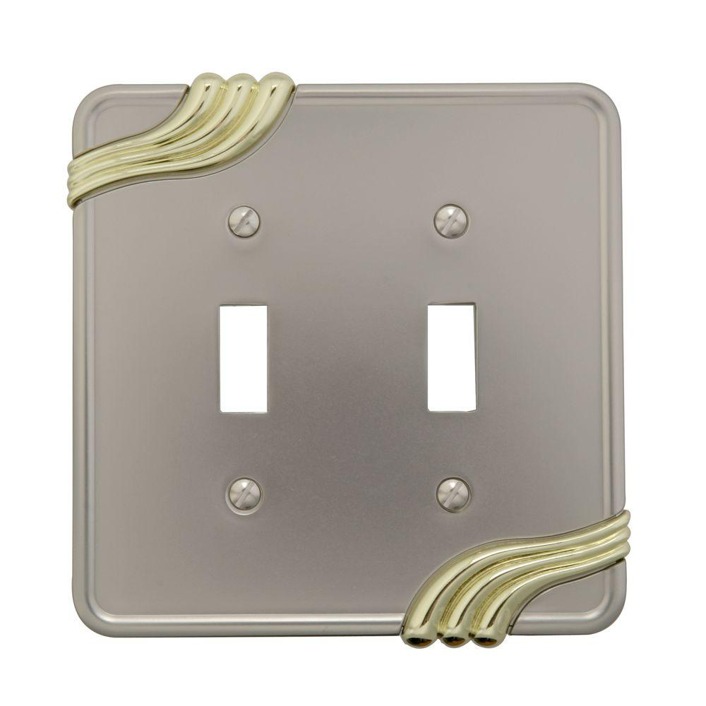 Grayson 2 Toggle Wall Plate - Nickel and Brass