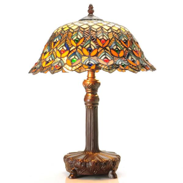 20 in. Peacock Brown/Multicolored Table Lamp