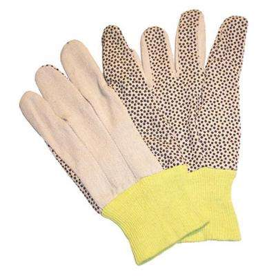 Women 12 oz. Cotton Canvas Work Gloves Coated with PVC Dots on Palm and Index Finger