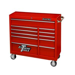 Click here to buy Extreme Tools 41 inch 11-Drawer 24 inch Deep Roller Cabinet Tool Chest in Textured Red by Extreme Tools.