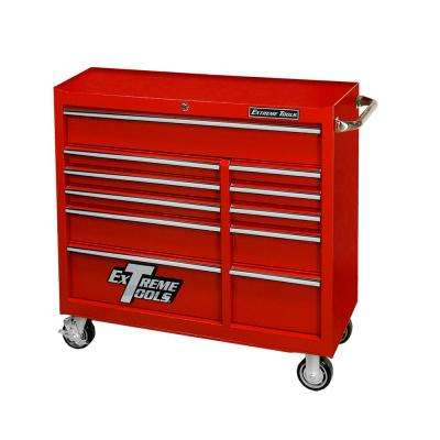 41 in. 11-Drawer 24 in. Deep Roller Cabinet Tool Chest in Textured Red