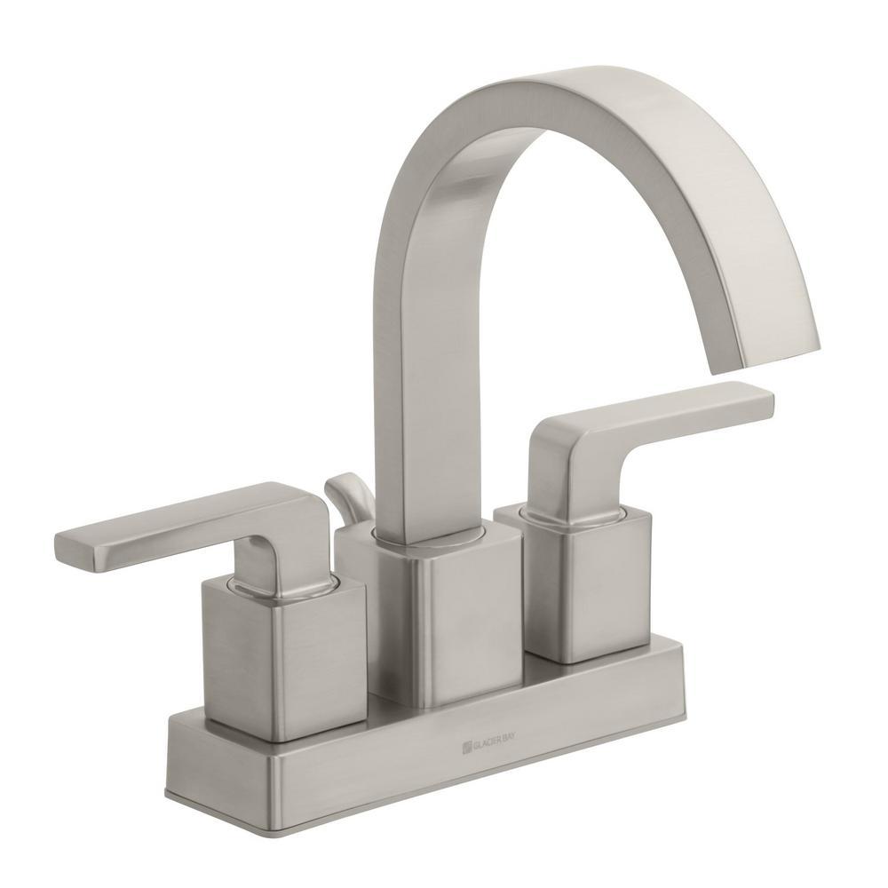 Farrington 4 in. Centerset 2-Handle Hi-Arc Bathroom Faucet in Brushed Nickel