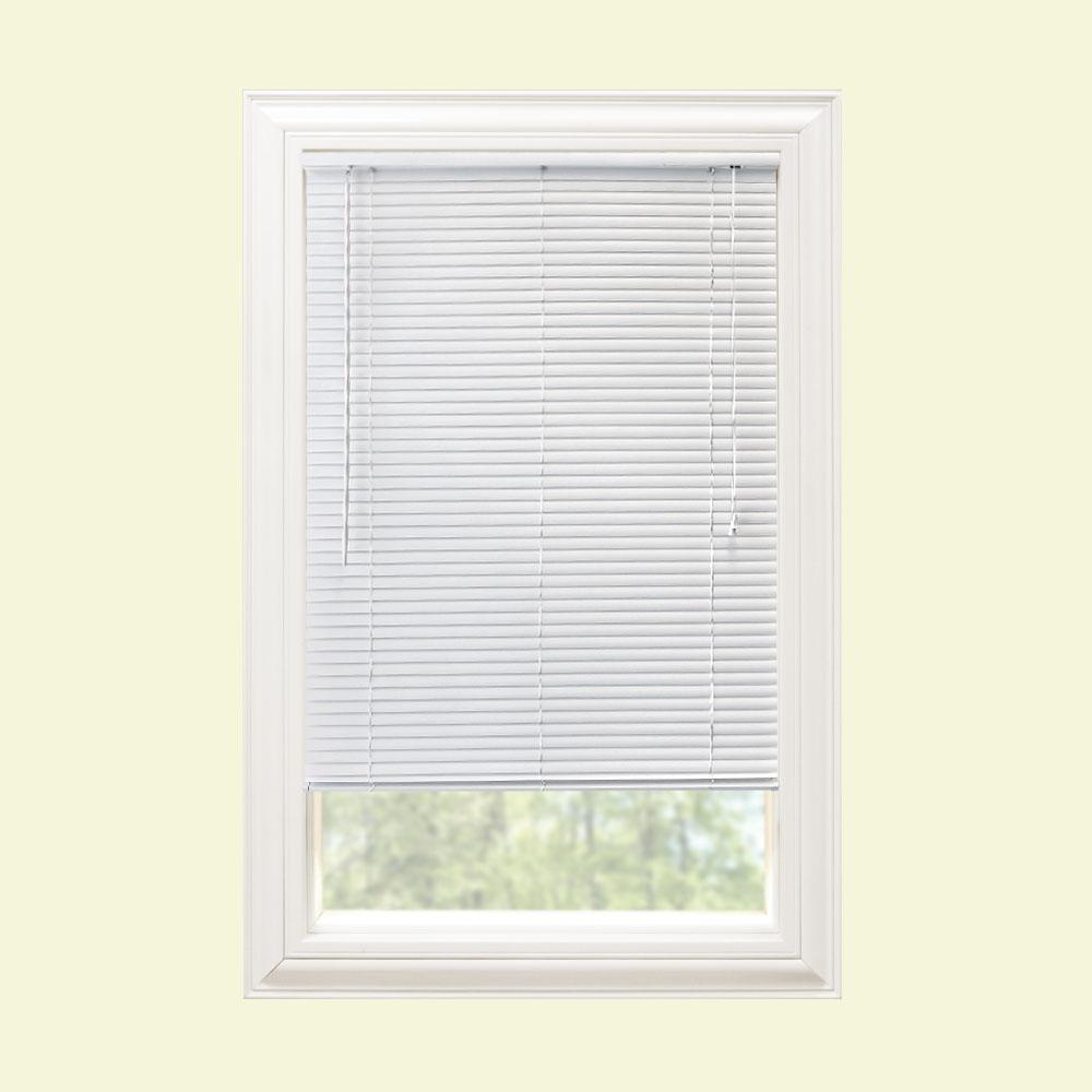 cheap vinyl mini blinds Hampton Bay White 1 in. Room Darkening Vinyl Mini Blind   58 in. W  cheap vinyl mini blinds