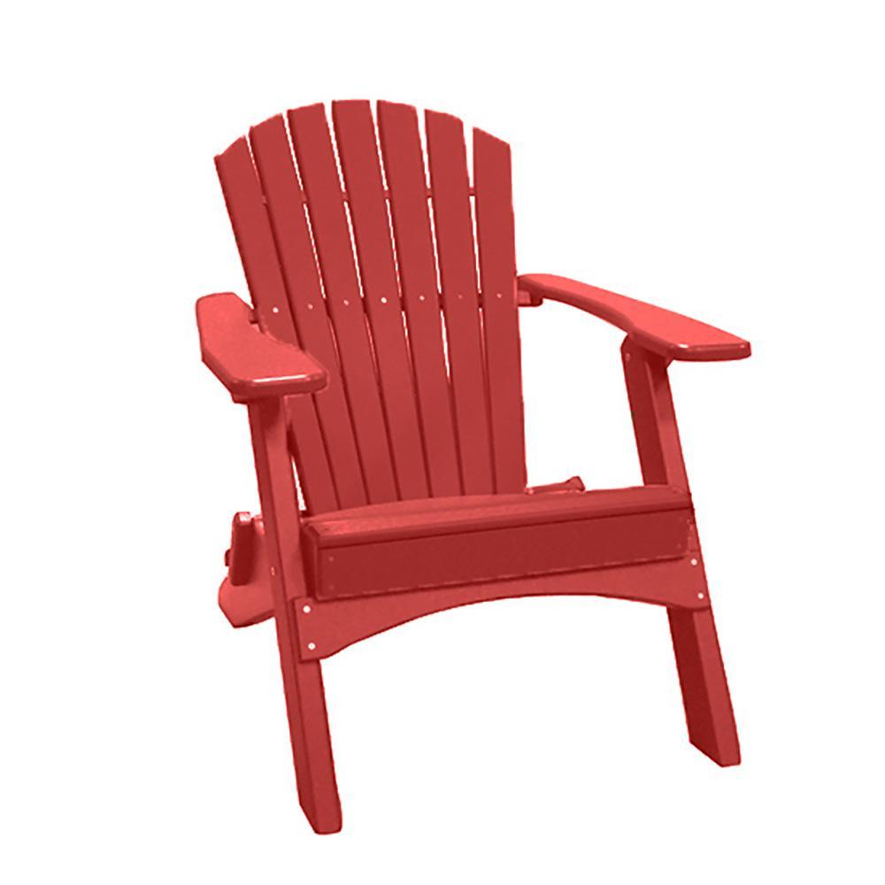 Cardinal Red Folding Recycled Poly-Lumber Adirondack Chair