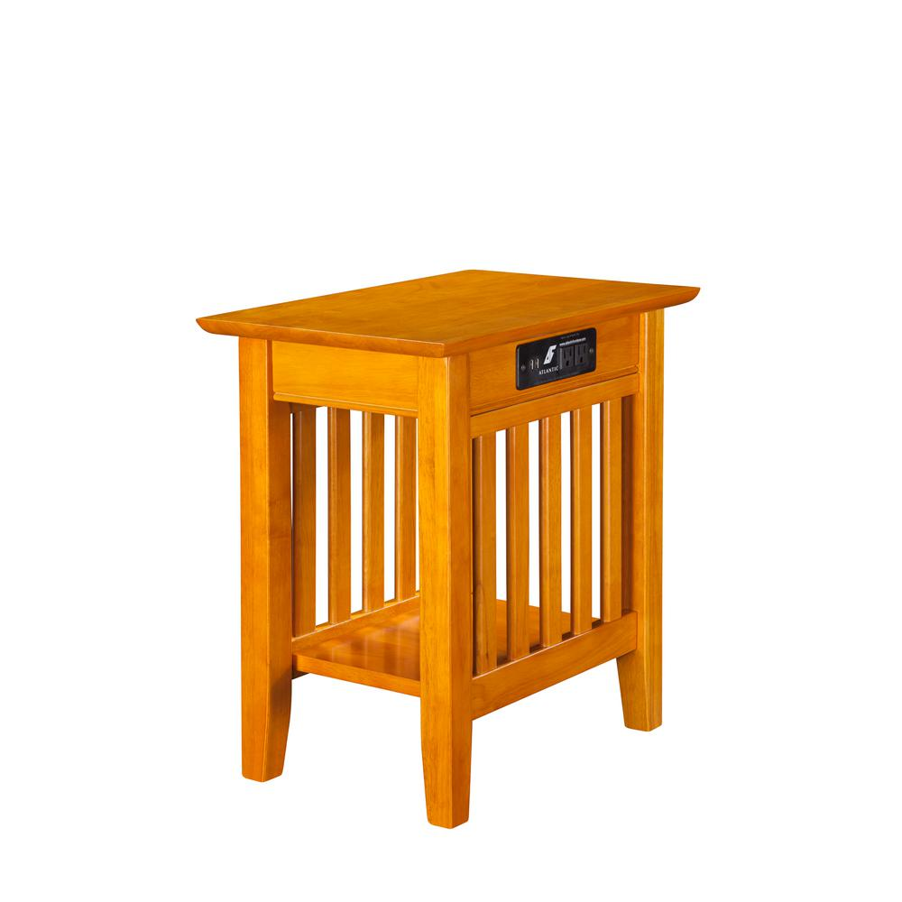 Atlantic Furniture Mission Caramel Chair Side Table With Charging Station