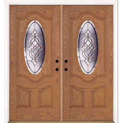 74 in. x 81.625 in. Lakewood Brass 3/4 Oval Lite Stained Light Oak Right-Hand Fiberglass Double Prehung Front Door