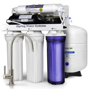 Click here to buy ISPRING 5-Stage 100 GPD Reverse Osmosis Water Filtration System with Booster Pump 3.2 Gallon Tank and Brushed Nickel Faucet by ISPRING.