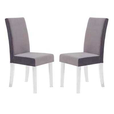Dalia 40 in. Gray Velvet and Acrylic Finish Modern Dining Chair (Set of 2)
