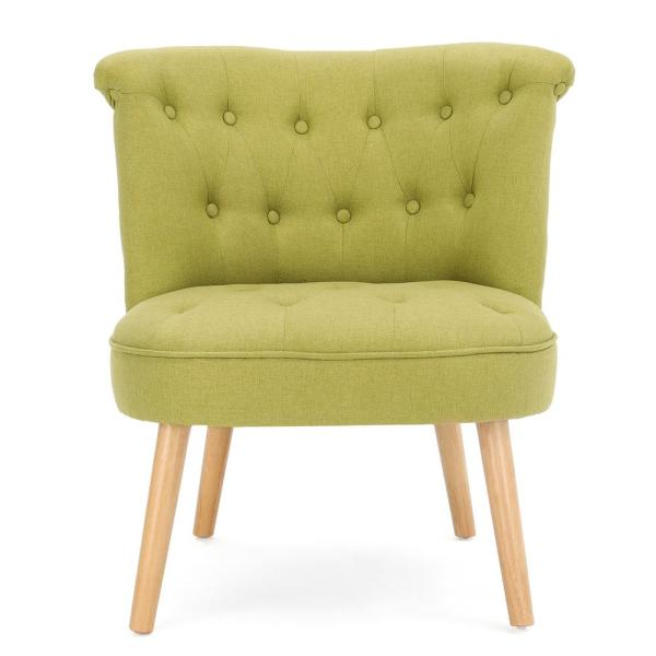 Noble House Cicely Tufted Light Green Fabric Accent Chair