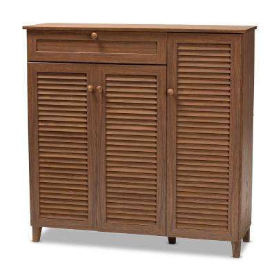 Coolidge 45 in. H x 45 in. W 21-Pair Walnut Wood Shoe Storage Cabinet