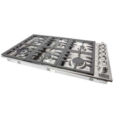 ZLINE 36 in. Stainless Steel Drop in Cooktop with 6 Gas Burners