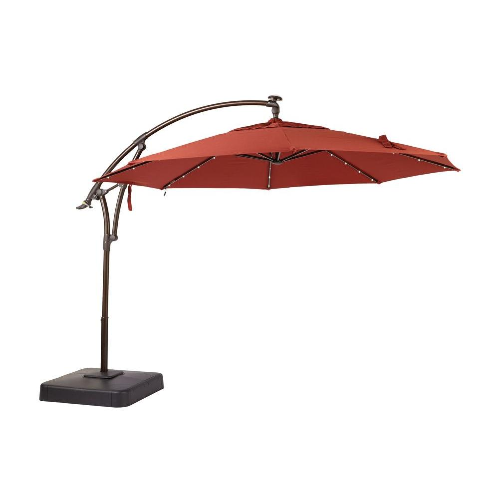 Hampton Bay 11 Ft Led Round Offset Outdoor Patio Umbrella In Sunbrella Henna
