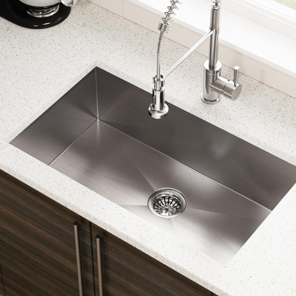 MR Direct Undermount Stainless Steel 32 in. Single Bowl Kitchen Sink