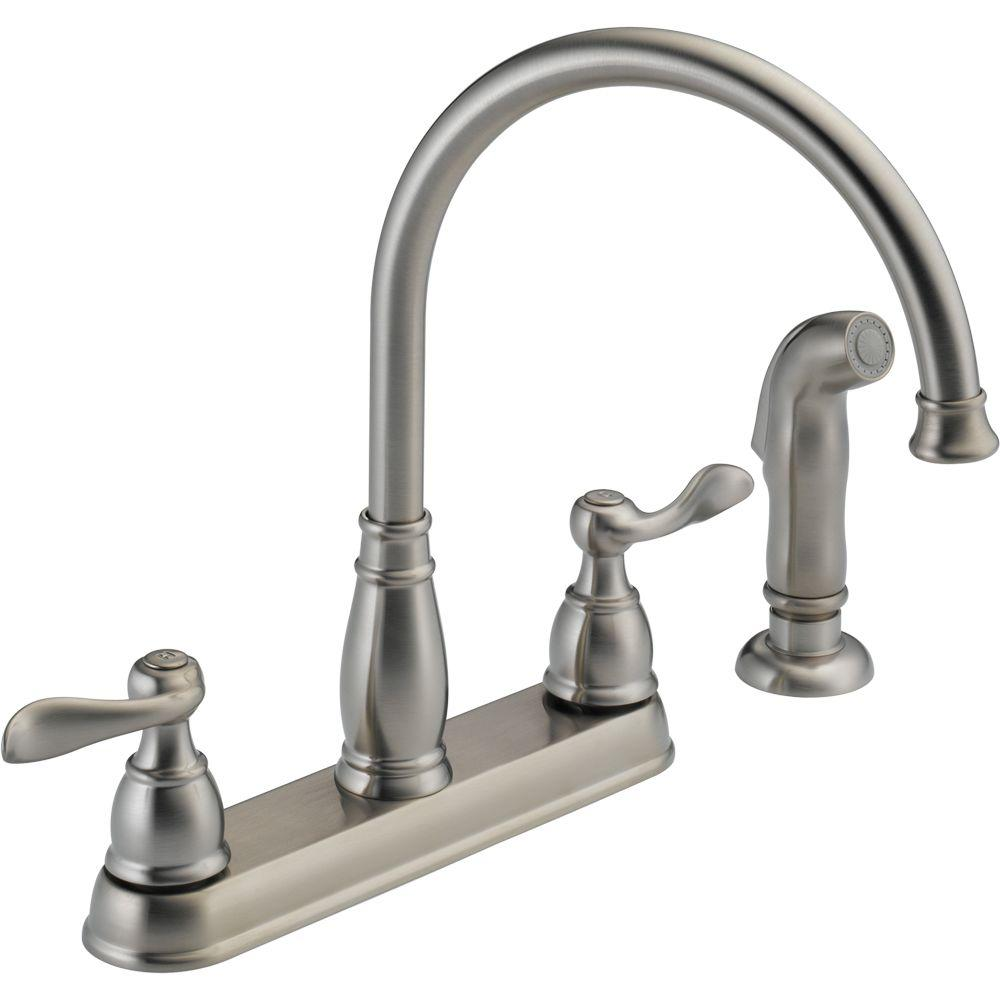 Delta Windemere 2-Handle Standard Kitchen Faucet with Side Sprayer in Stainless