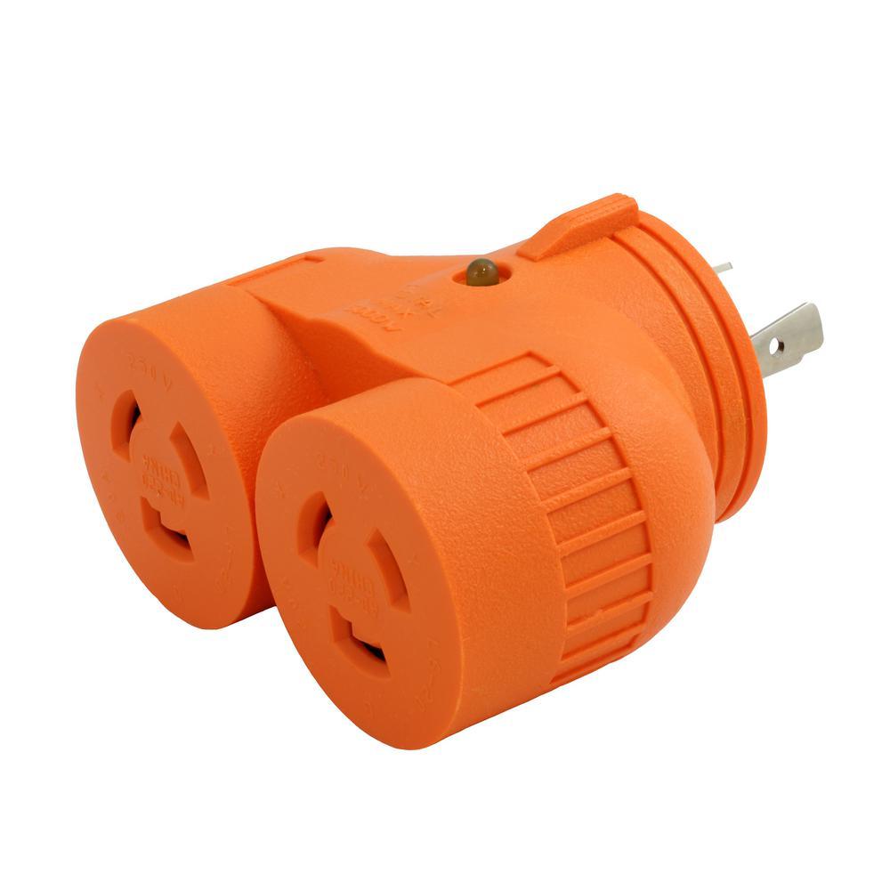1-Volt to 2-Volt Outlet Adapter L6-20P 20 Amp 250-Volt 3-Prong Locking Plug to (2) L6-20R 20 Amp Connectors