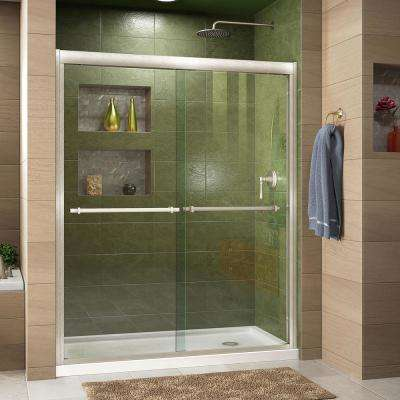 Duet 34 in. D x 60 in. W x 74.75 in. H Semi-Frameless Sliding Shower Door in Brushed Nickel with Right Drain White Base