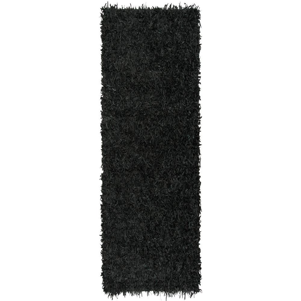 Leather Shag Black 2 ft. x 8 ft. Runner