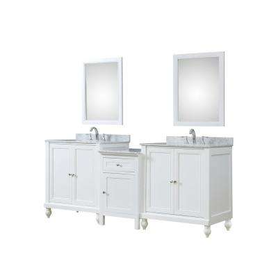 Classsic Hybrid Bath and Makeup 83 in. W Vanity in White with Marble Vanity Top in White with White Basins and Mirrors