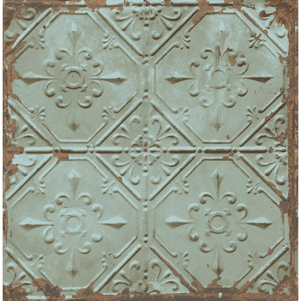 Brewster Teal Tin Ceiling Distressed Tiles Wallpaper 2701 22331 The Home Depot