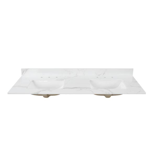 73 in. W x 22 in. D x 0.75 in. H Engineered Marble Vanity Top in Calacatta White with White Basins