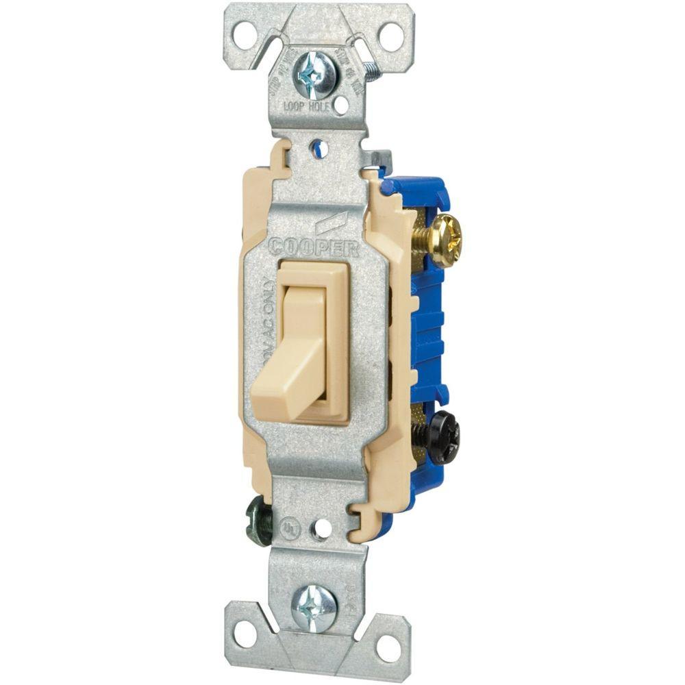 Eaton 15 Amp 3-Way Light Grounding Switch -Ivory