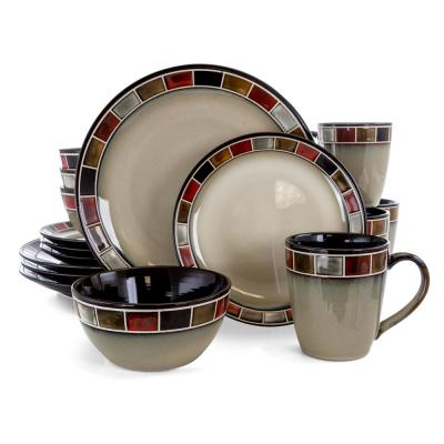 Casa Roja 16-Piece Mission Cream and Red Reactive Glaze Stoneware Dinnerware Set (Service for 4)