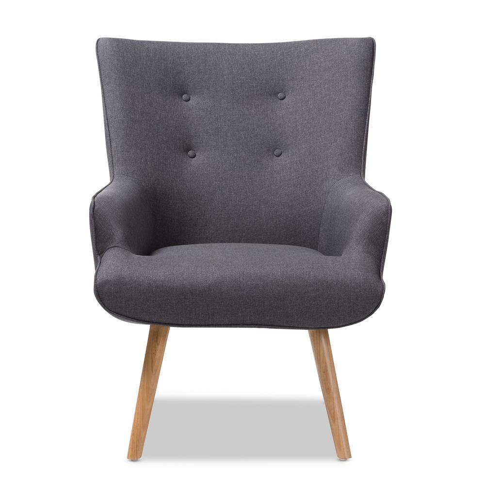 Baxton Studio Alden Dark Grey Fabric Upholstered Lounge Chair