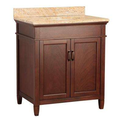 Ashburn 31 in. W x 22 in. D Vanity in Mahogany with Vanity Top and Stone Effects in Tuscan Sun