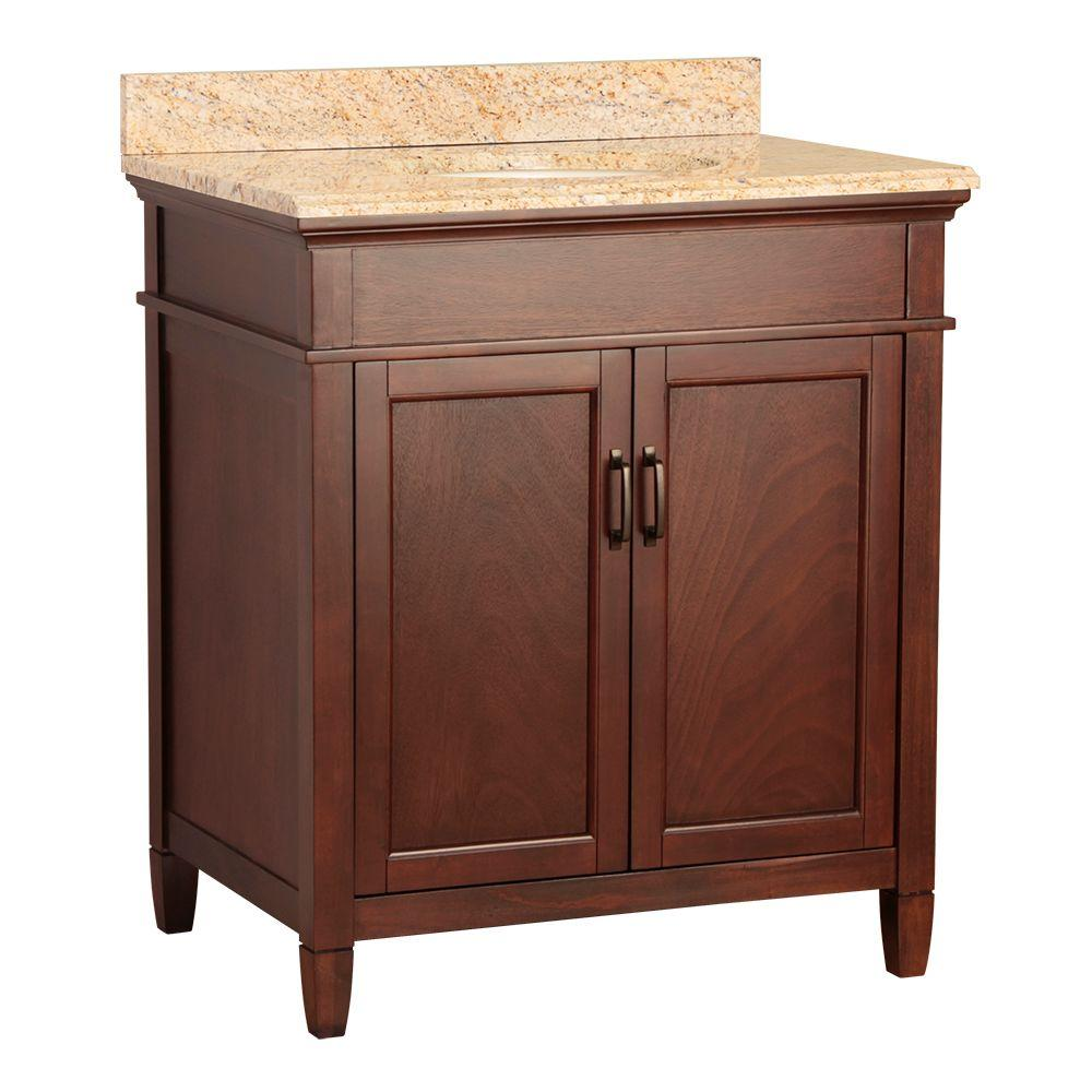 null Ashburn 31 in. W x 22 in. D Vanity in Mahogany with Vanity Top and Stone Effects in Tuscan Sun