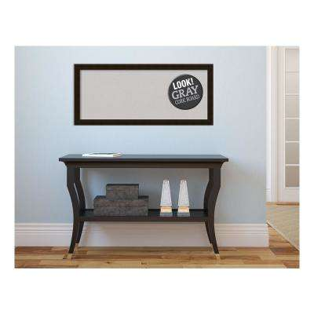 Espresso Brown Wood 32 in. x 14 in. Framed Grey Cork Board
