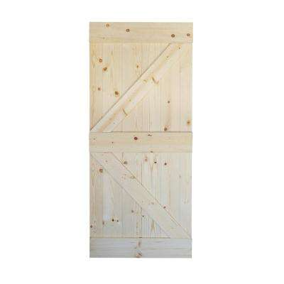 36 in. x 84 in. K Series DIY Unfinished Knotty Pine Wood Interior Barn Door