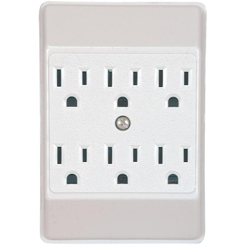 15 Amp 125-Volt 6 Outlet Tap Receptacle, White