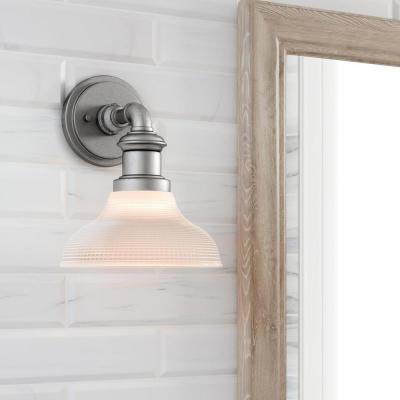 Foxcroft 5 in. Antique Nickel Sconce with Clear Prismatic Glass Shade