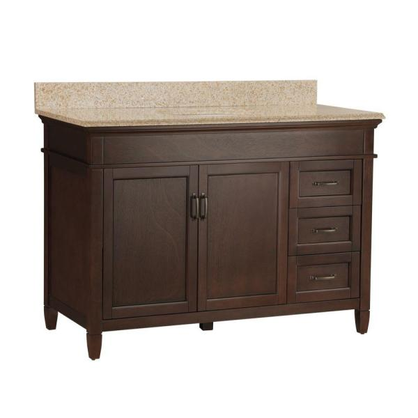 Ashburn 49 in. W x 22 in. D Bath Vanity in Mahogany with Right Drawers with Granite Vanity Top in Beige