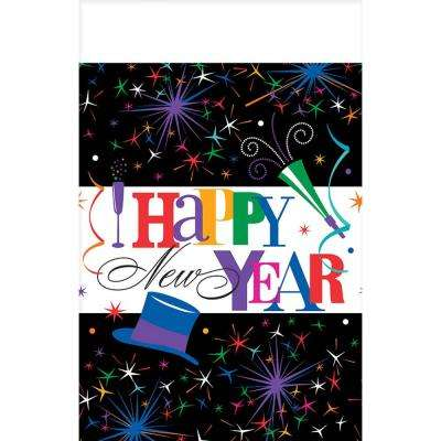 New Year's 54 in. x 84 in. Multicolor Ring in the New Year Plastic Tablecover (3-Count, 2-Pack)