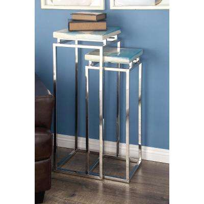 Modern Stainless Steel and Gray Pedestal Set (Set of 2)