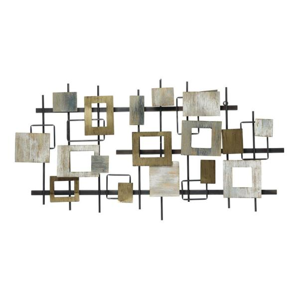 Modern Shapes Wood and Metal Wall Centerpiece
