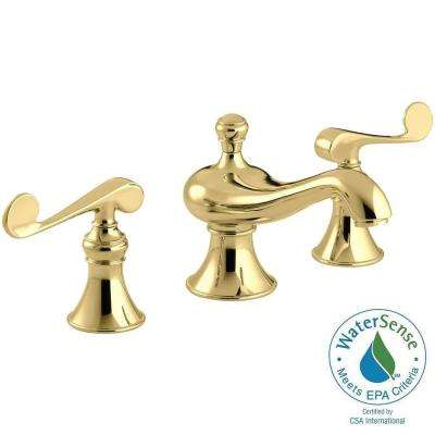 Revival 8 in. Widespread Low-Arc Water-Saving Bathroom Faucet in Vibrant Polished Brass with Scroll Lever Handles