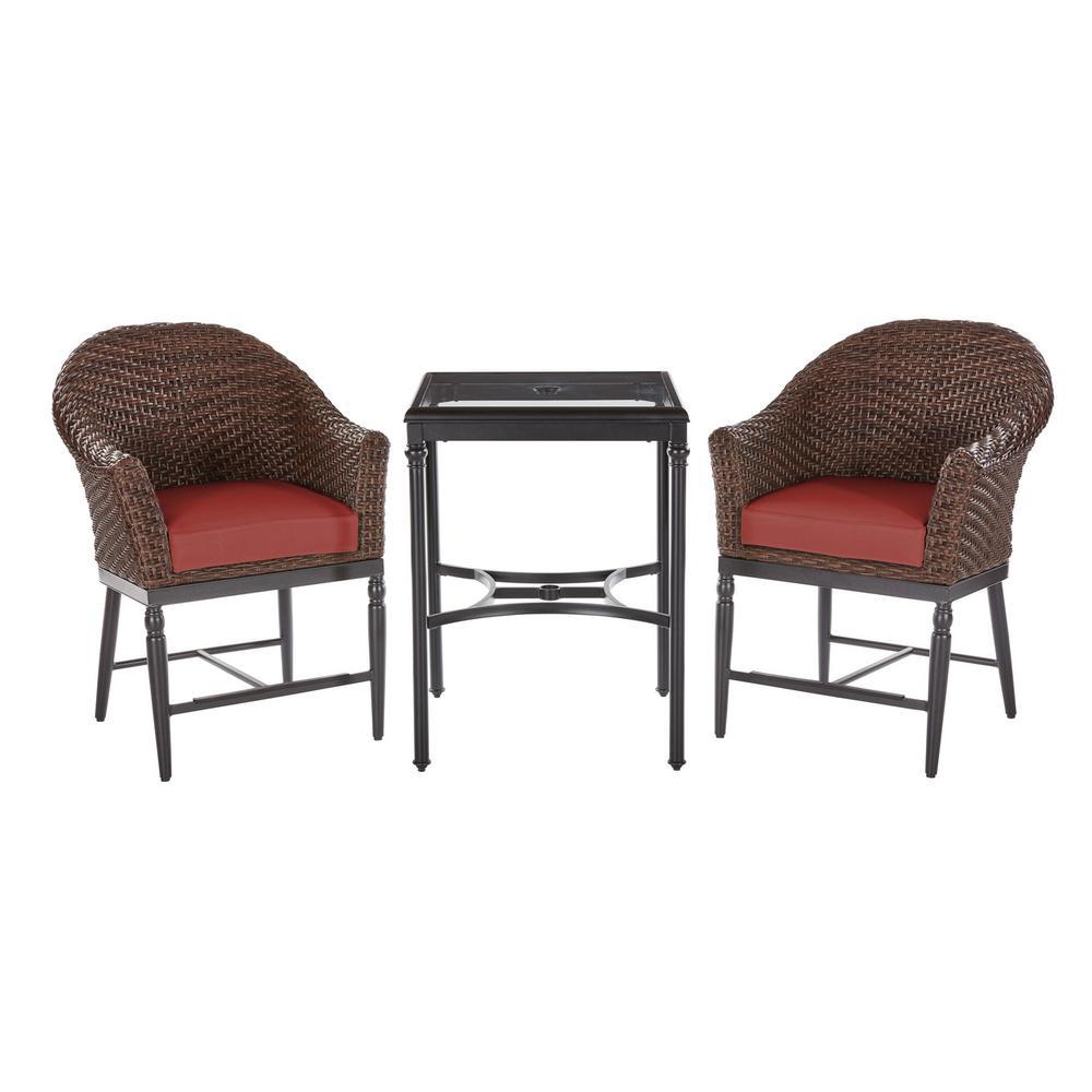 Camden Dark Brown 3-Piece Wicker Outdoor Patio Balcony Height Bistro Set with Sunbrella Henna Red Cushions
