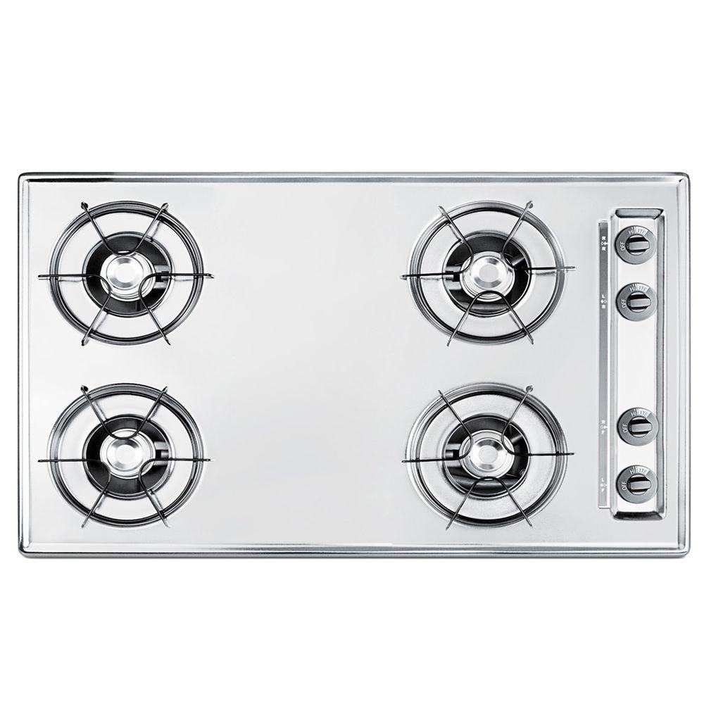 null 30 in. Gas Cooktop in Brushed Chrome with 4 Burners