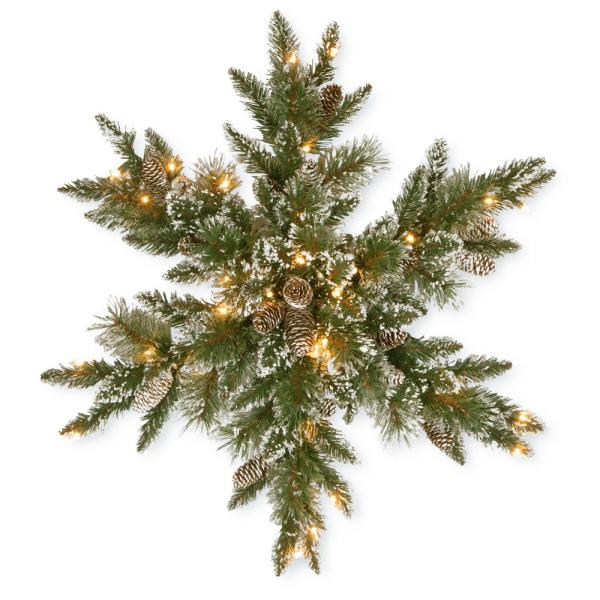 Glittery Bristle Pine 32 in. Artificial Snowflake with Battery Operated Warm White LED Lights