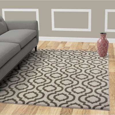 Jasmin Collection Grey and Charcoal Grey 7 ft. 10 in. X 9 ft. 10 in. Moroccan Trellis Area Rug