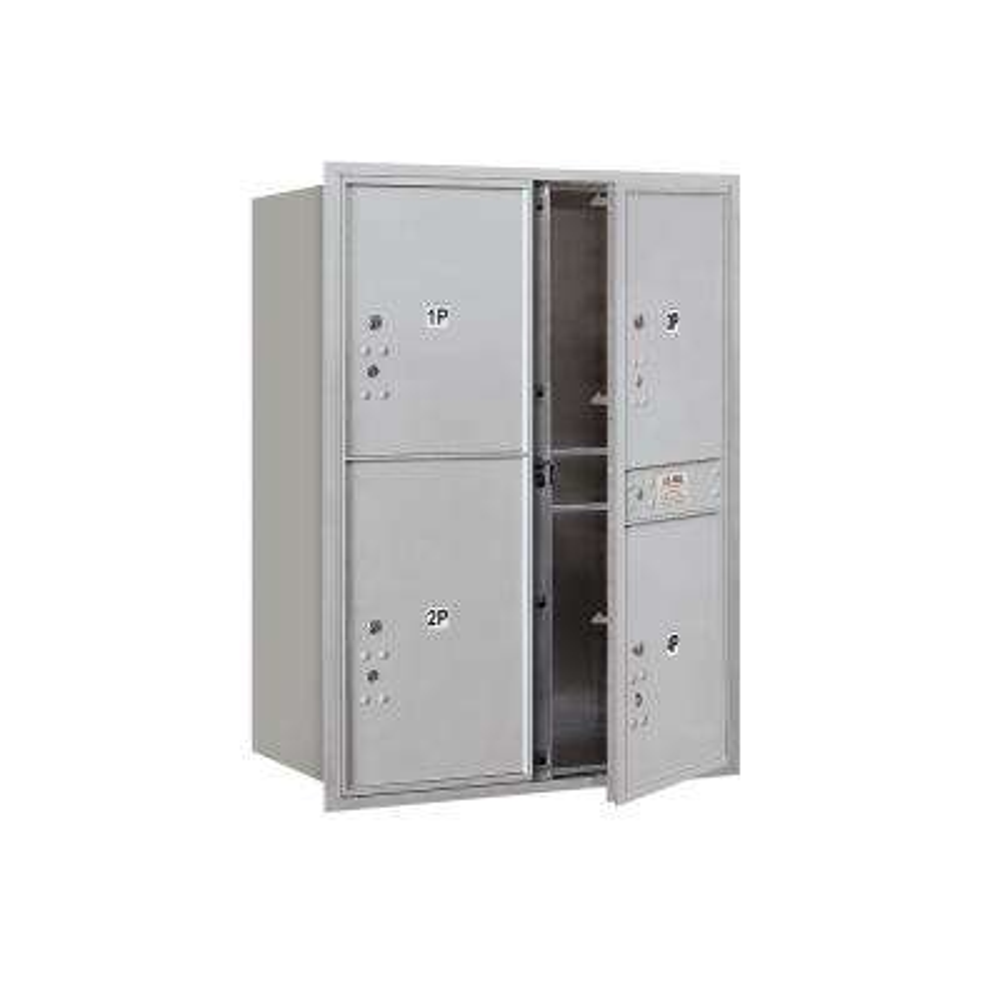 3700 Horizontal Series 3-Parcel Locker Recessed Mount Mailbox