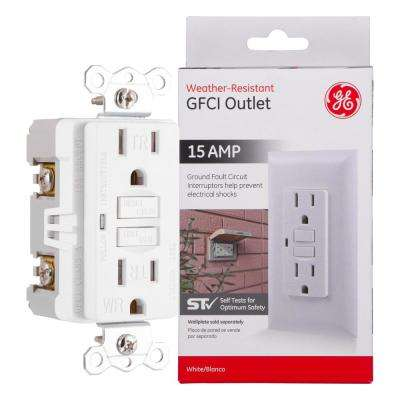 15 Amp Tamper Resistant Weather Resistant GFCI Duplex Outlet Receptacle, White