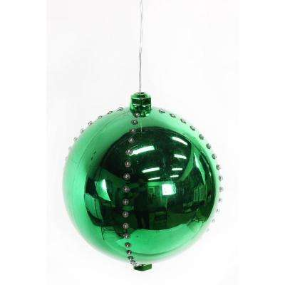 7 in. Green Xmas Ball Ornament with 76-Chasing LED Lights