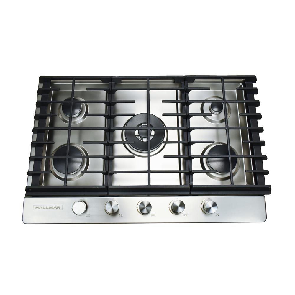 Gas Cooktop In Stainless Steel With 5 Burners Including A Tri