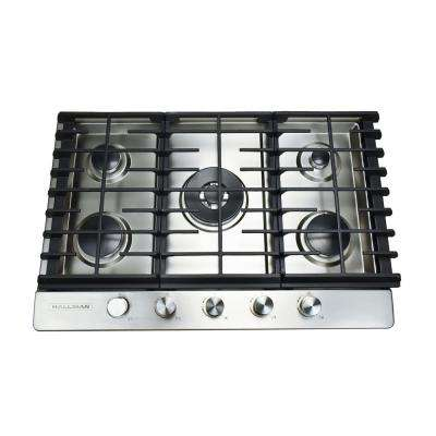 30 in. Gas Cooktop in Stainless Steel with 5 Burners Including a Tri-Ring Power Burner