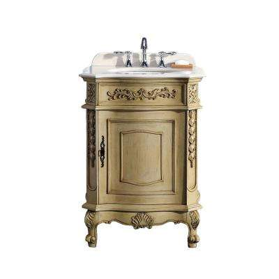 26.20 in. W x 21 in. D Vanity in Antique Parchment with Marble Vanity Top in Cream with White Basin