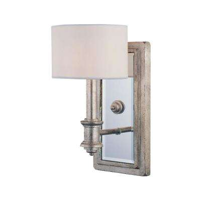 1-Light Argentum Sconce with White Fabric Shade