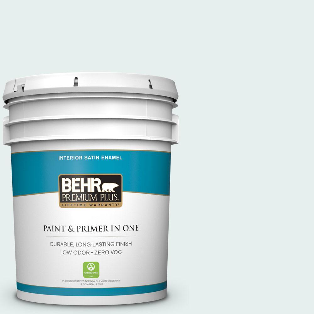 BEHR Premium Plus 5-gal. #730E-2 Sparkling Spring Zero VOC Satin Enamel Interior Paint